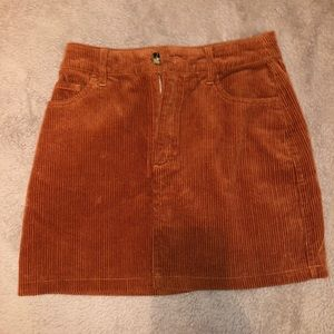 Orange Corduroy Skirt